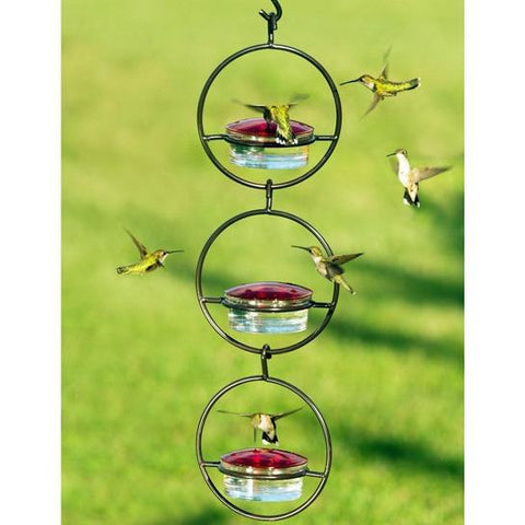 Image of Recycled Glass and Metal Hanging Sphere Hummingbird Feeder