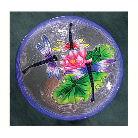 Image of Dragonfly Glass Bird Bath
