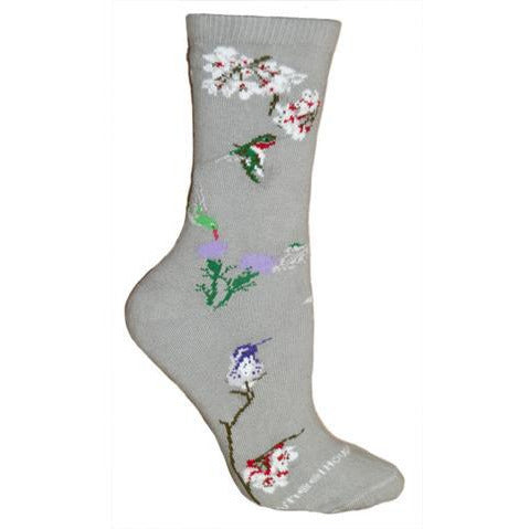 Hummingbird Socks on Gray from Wheelhouse