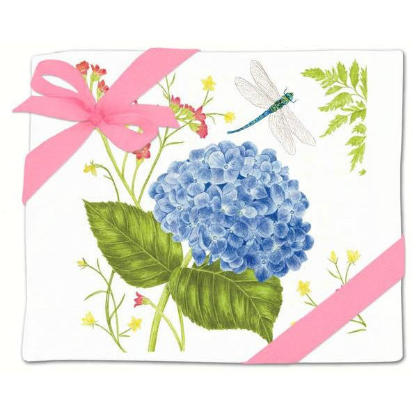 Hydrangea & Dragonfly Flour Sack Towel Set of 2