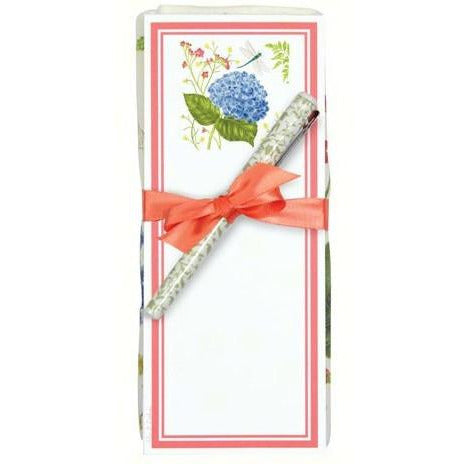 Hydrangea & Dragonfly Flour Sack Towel and Magnetic Note Pad Set