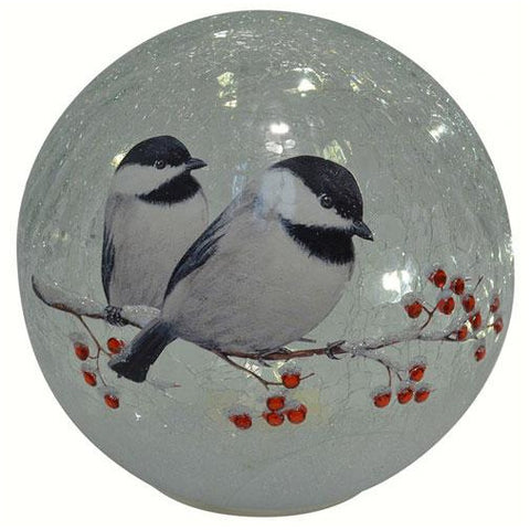 Crackle Glass Globe 7 IN Chickadee Large