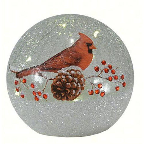 crackle glass globe 6 inch cardinal