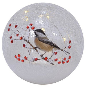 crackel glass globe chickadee