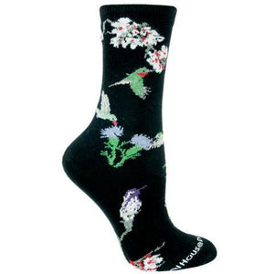 Hummingbird Socks on Black from Wheelhouse