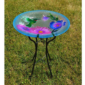 Hummingbird Beauty Glass Bird Bath