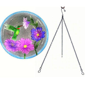 Hummingbird Hanging Glass Bird Bath