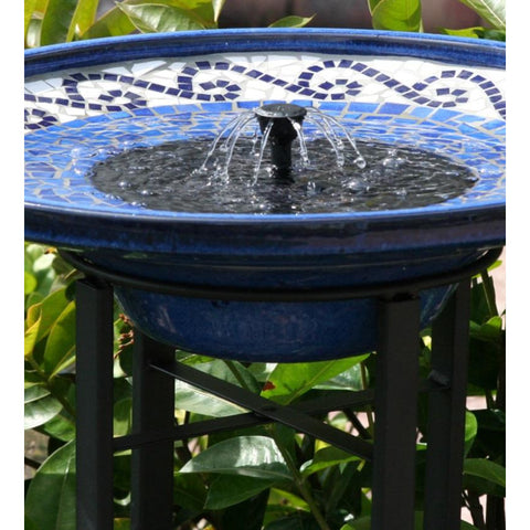 Blue Ceramic Mosaic Solar Bird Bath