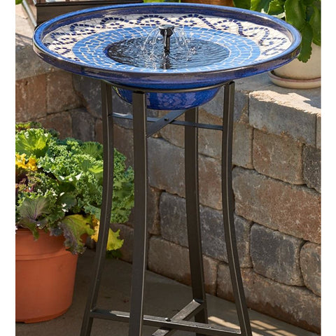 Image of Blue Ceramic Mosaic Solar Bird Bath