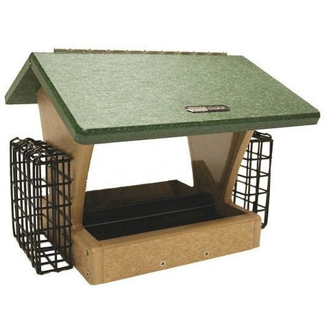 Recycled 4 Quart 2-Sided Feeder w/Suet Cages