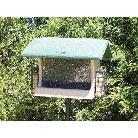 Recycled 7 Quart Hopper w/Suet Cages