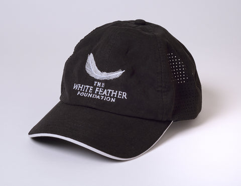 Embroided 'White Feather Foundation' Microfiber Performance Cap by Fahrenheit - Black