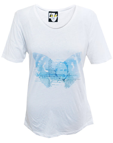 Julian Lennon (Ticking Of The Clock Blue) White Scoop Neck T-Shirt