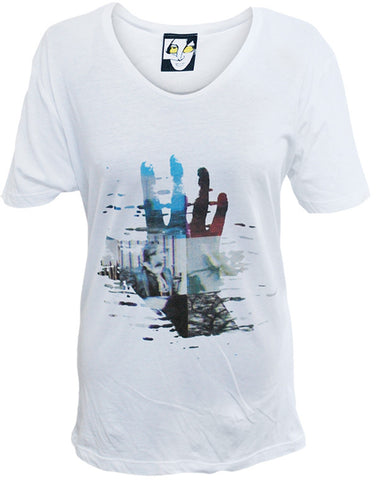 Julian Lennon (Coloured Hand) White Scoop Neck T-Shirt