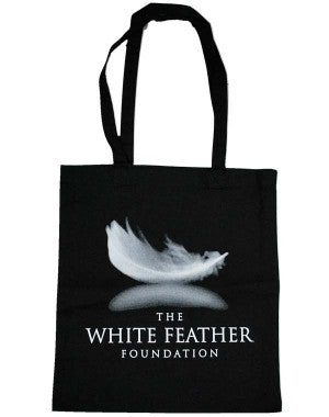 White Feather Foundation (Logo) Black Shopper Bag