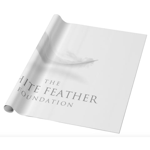 White Feather Wrapping Paper - Roll