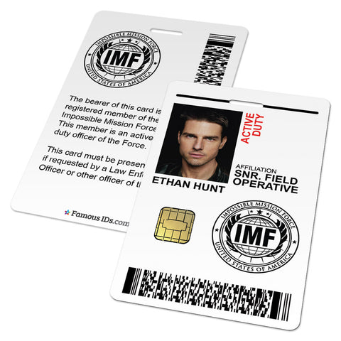 Mission Impossible ID Card (Impossible Mission Force IMF, Ethan Hunt)