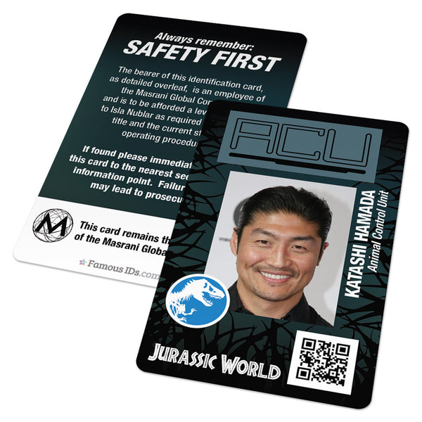 Jurassic World ACU Screen Accurate ID Badge Card (Animal Control Unit)