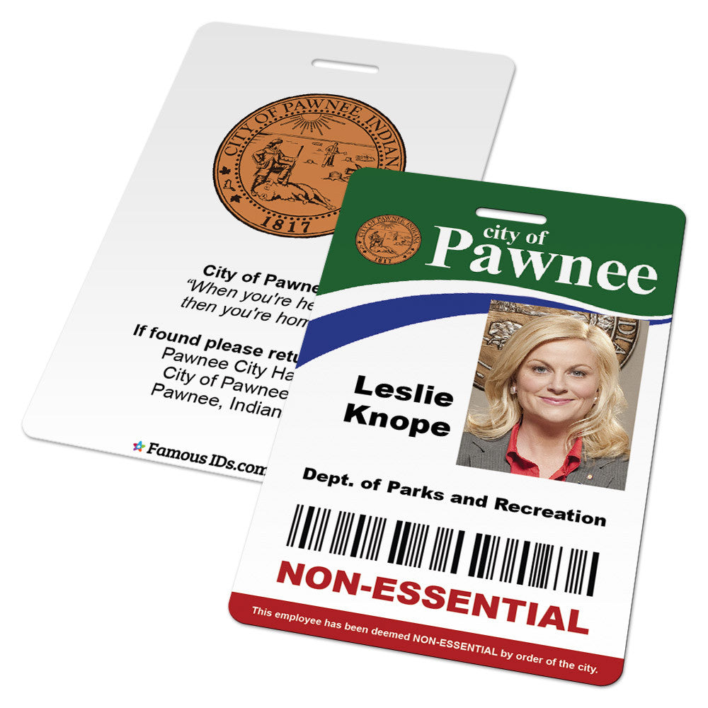 custom id card city of pawnee employee badge from parks