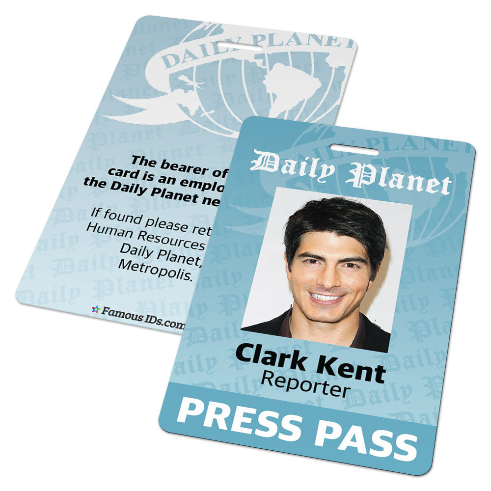 Custom ID Card - Daily Planet Press Pass badge - Superman ...