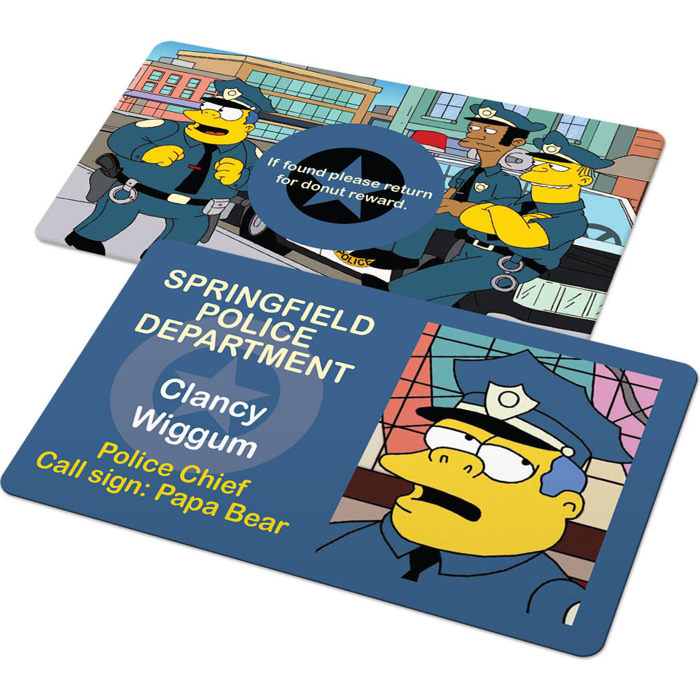 Custom id card springfield police department badge from the simpsons famous ids id cards - Police simpsons ...