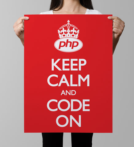 PHP Keep Calm Code Red Poster codeAddict