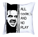 Black White Contrast All Code No Play Soft Pillow codeAddict Other Side