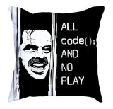 Black White Contrast All Code No Play Soft Pillow codeAddict