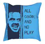 Midnight Light Blue All Code No Play Square Pillow codeAddict Other Side