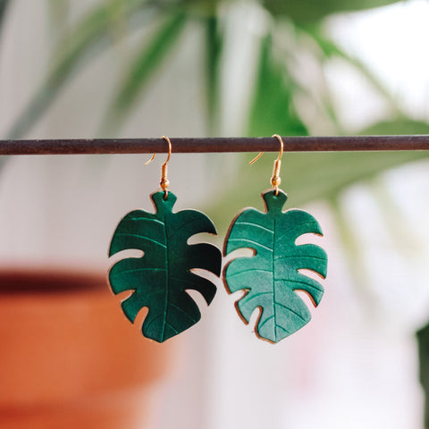 Leather Monstera Earrings