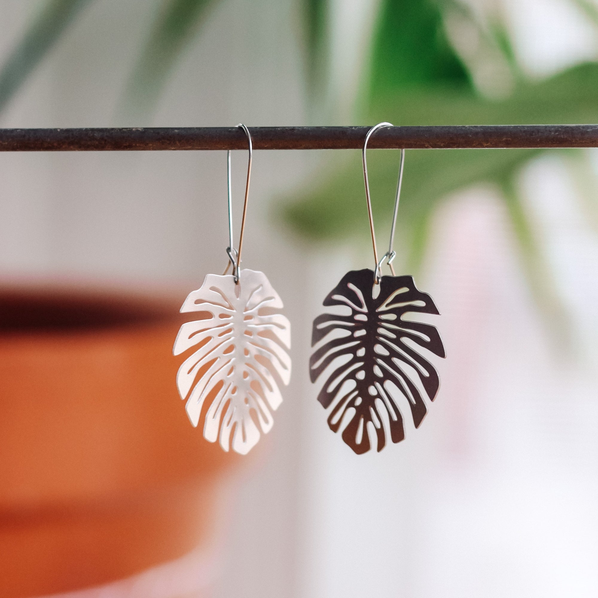 A Tea Leaf, Monstera Earrings