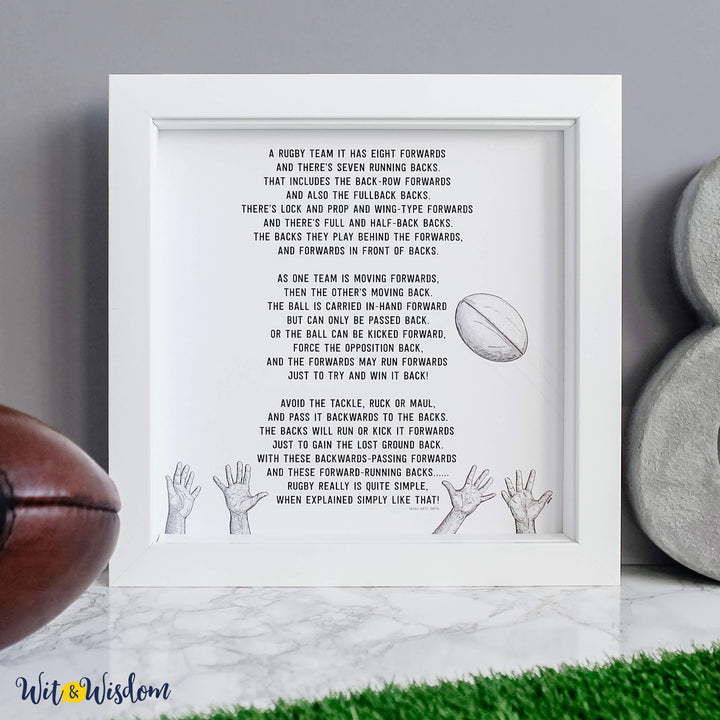 Rugby is simple funny guide to rugby art print from Wit and Wisdom UK.