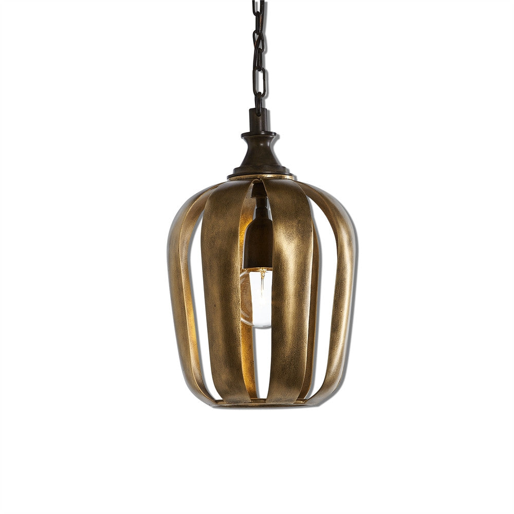 Zucca 1 Light Antique Gold Mini Pendant - Southern