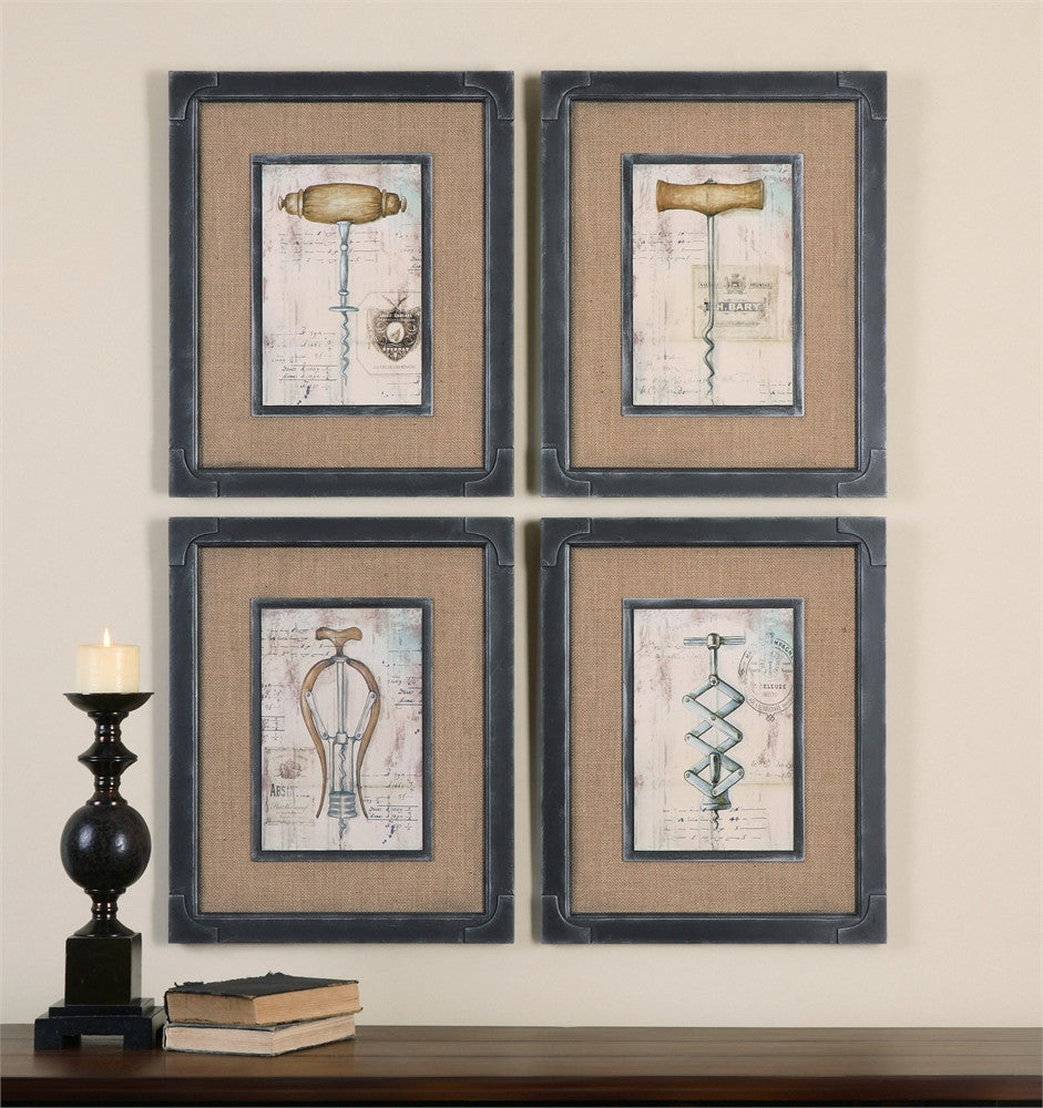 Wall decor mixed media and canvas southernelevation antique corkscrews artwork set of 4 southern elevation amipublicfo Images