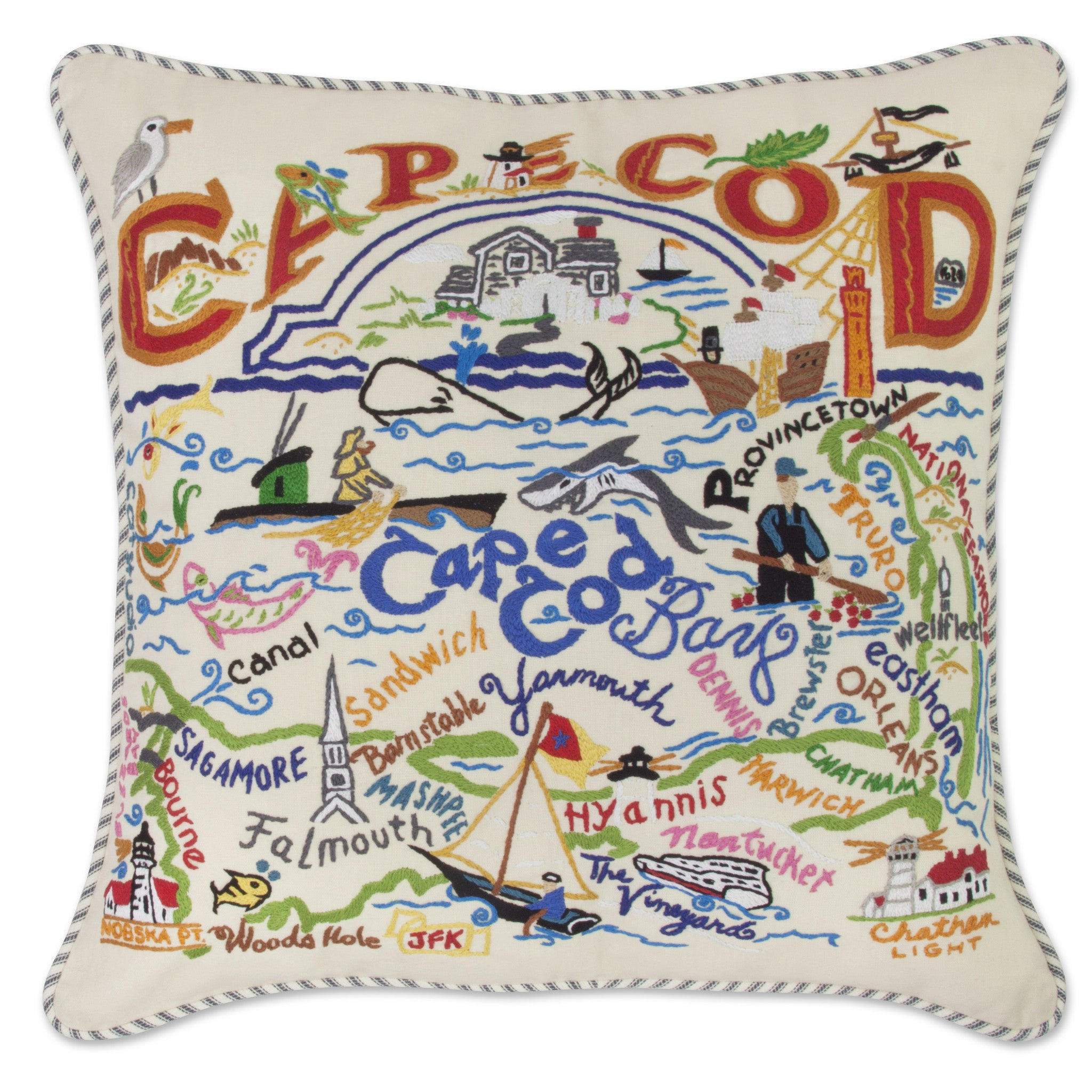 Catstudio: Cape Cod Hand Embroidered Pillow