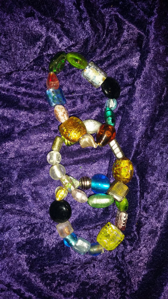 Lampworked Glass Stretch Bracelet