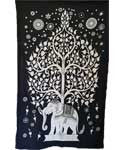 "Elephant and Tree Tapestry 54"" X 86"" (Black and White)"