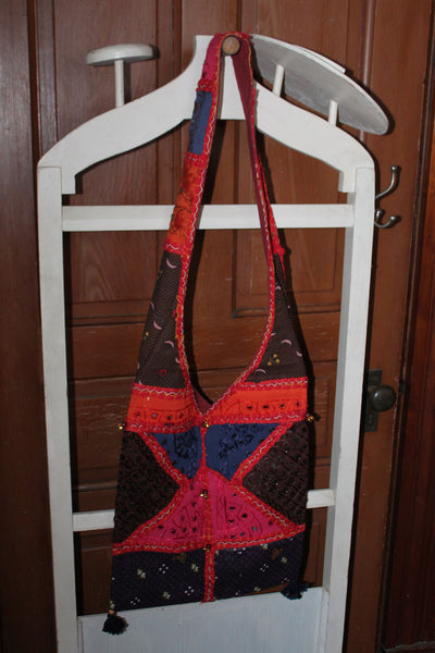 Hippie Crossbody Sling Patchwork Purse with Tassels and Bells