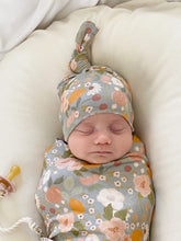 Load image into Gallery viewer, Set: Orchard Swaddle + Top Knot Hat