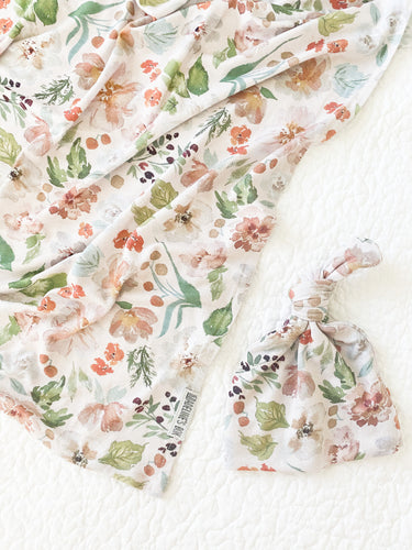 Set: Meadow Swaddle + Top Knot Hat