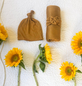 Swaddle + Top Knot Hat Set: Honey