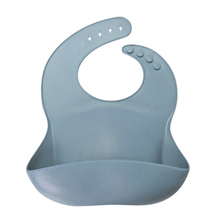 Load image into Gallery viewer, Silicone Baby Bib (Dusty Blue)