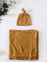 Load image into Gallery viewer, Swaddle + Top Knot Hat Set: Honey