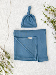 Set: Dusty Blue Swaddle + Top Knot Hat