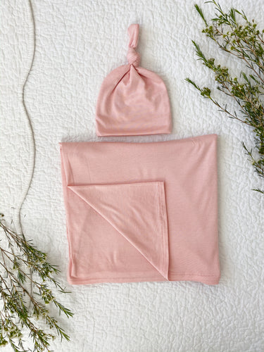Set: Rose Swaddle + Top Knot Hat