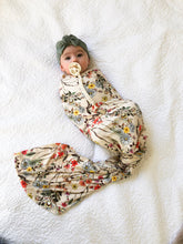 Load image into Gallery viewer, Set: Wildflower Swaddle + Top Knot Hat