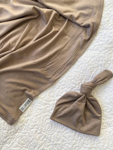 Set: Taupe Swaddle + Top Knot Hat