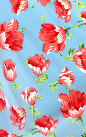 Sky and Coral Tulips Circle Skirt