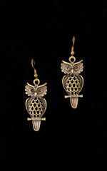 Amos Owl Brass Earrings