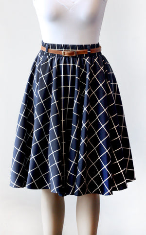 Navy Windowpane Circle Skirt